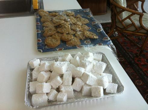 Oven cookies, and the traditional Thanksgiving homemade marshmallows