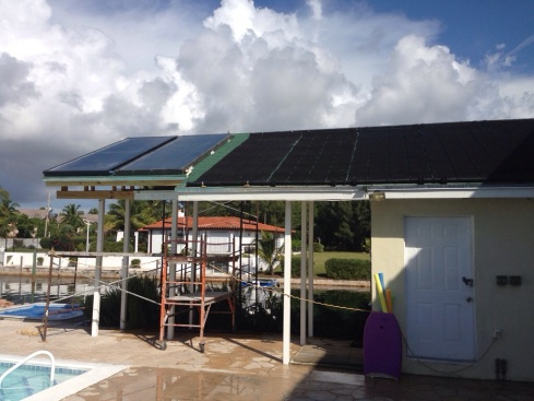 Solar water heater panels for the hot tub and pool.